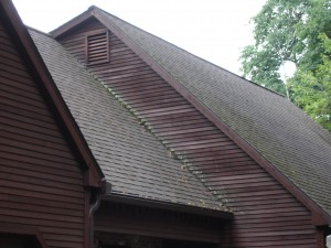 Roof covered with moss, mold, and mildew typical in Avon CT, Canton CT, Farmington CT, Granby CT, Simsbury CT, & West Hartford CT.