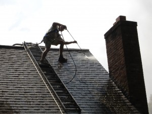 Low pressure roof washing and roof cleaning by Kevin Palmer Painting, Simsbury CT, safely and effectively restores a roof's appearance.