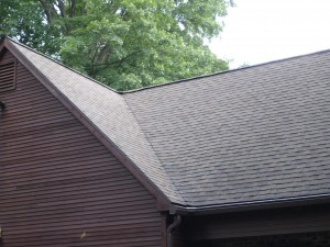 "Low-pressure roof washing by Kevin Palmer Painting has restored this roof to a beautiful ""like-new"" finish."