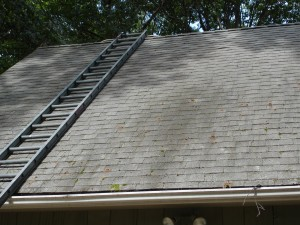 Before roof washing by Kevin Palmer Painting, mold and mildew were damaging the roof and appearance of this home in Avon CT.