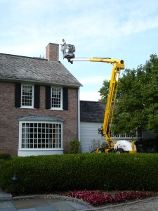 Kevin Palmer Painting has the equipment, knowledge, and expertise to safely and effectively waterproof the chimney of this Farmington, CT residence.