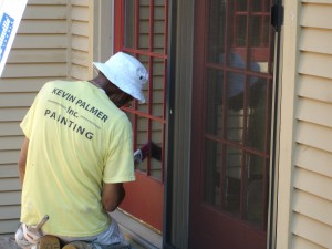 Charlie painting door trim